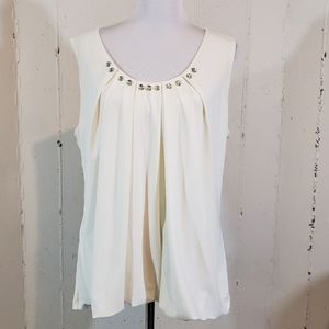 Dress Barn XL jeweled off white sleeveless blouse